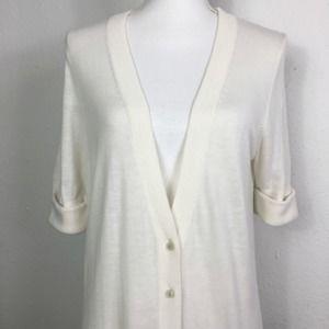 Loft M Ivory Button Up V-Neck Cardigan Sweater